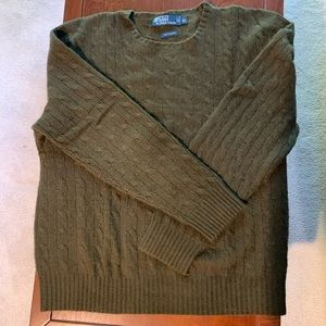 Olive Green Cable Knit 100% Cashmere Sweater